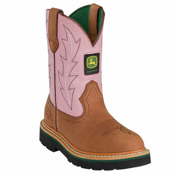 John Deere Kid's Youth Girls Johnny Popper Boots Pink