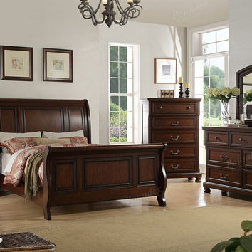 Poundex F9289Q-5pc 5 pc alician II brown cherry finish wood queen curved back headboard sleigh bed set
