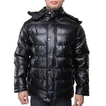 Men's Down Puffy Removable Hood Jacket