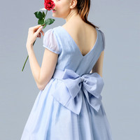 Light Blue Cap Sleeve V-Back Skater Dress Detachable Bow Tie