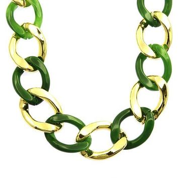 Lucite And Metal Chunky Link Necklace