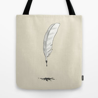 Write as a Feather Wordless Tote Bag by Nameless Shame