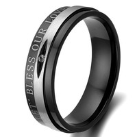 """Flongo Men's """"Bless Our Love"""" Black Silver Stainless Steel Couples Wedding Promise Band Ring, Size 8"""