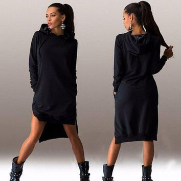 LMFON1O Day First Womens Casual Hoodie Long Sweater Dress