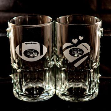 His & Hers San Francisco 49ers Football and Football Heart Etched Beer Mugs - Set of 2 Engraved Small Beer Mugs