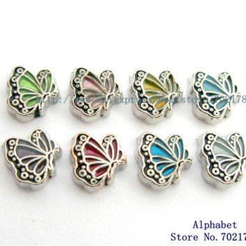 10pcs mix color Butterfly floating locket charm Fit floating memory locket FC986 Free shipping