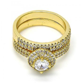 Gold Layered Wedding Ring, with Cubic Zirconia and Crystal, Gold Tone