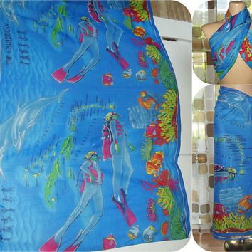 Vintage Caribbean Swimsuit Cover Up | Tropical Sarong Pareo | Ocean Fish Scuba Island Motif | Huge Scarf  | Sheer Beachwear Wrap Skirt