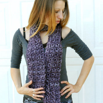 Passionate purple broomstick lace crochet scarf, warm scarf, scarflette, neck warmer,