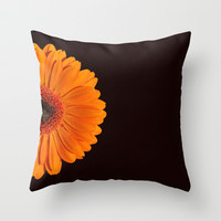 colored summer ~ orange gerbera ~ black Throw Pillow by Steffi ~ findsFUNDSTUECKE