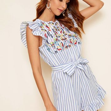 Striped Floral Embroidered Ruffle Hem Belted Playsuit