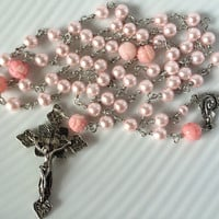 Catholic Rosary Glass Pink Pearls with Bamboo Coral Handmade Unbreakable