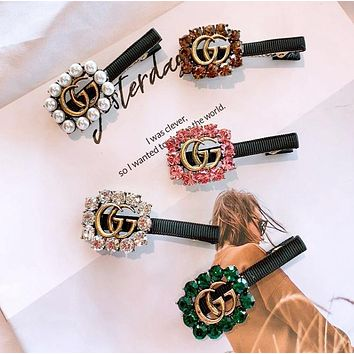 GUCCI Women Fashion New Pearl More Diamond Personality Hair Clip Accessories