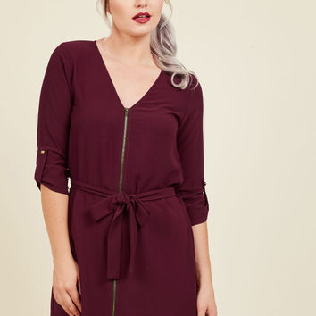 Positive Pen Pal Mini Dress in Maroon | Mod Retro Vintage Dresses | ModCloth.com