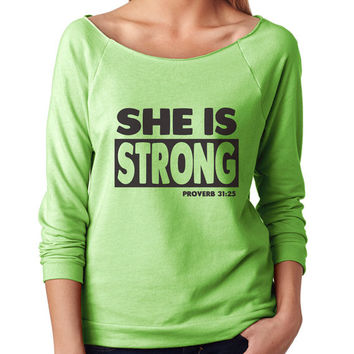 She Is Strong 3/4 Sleeve Scoop Neck - beautiful quote shirts, workout clothing, motivational tshirts, inspirational raw edge tops