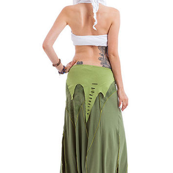 FESTIVAL GODDESS SKIRT, psy fairy skirt, flow skirt, psy trance clothing, pixie clothing, long boho mermaid skirt