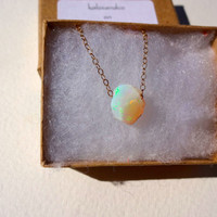 Large Rough Opal Pendant & 925 Sterling Silver; Oxidized Sterling Silver; Rose Gold Fill; 14k Gold Fill Chain Necklace