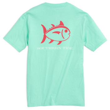 Beachside Outline Skipjack Tee Shirt in Offshore Green by Southern Tide
