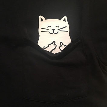 Cat Middle Finger Pocket T Shirt