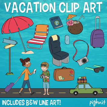 Vacation Clip Art, Beach Holiday Clipart, Passport Clipart, Travel Clipart, Camera Clipart, Hawaii Clipart, Umbrella Clipart, Coconut Drink