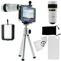 CamKix iPhone 5 Camera Lens Kit - 8x Telephoto Lens / Mini Tripod / Universal Phone Holder / Hard Case for Apple iPhone 5 (White)