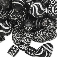 Black White Ethnic African Tribal Clay Mixed Large Beads 12 pcs