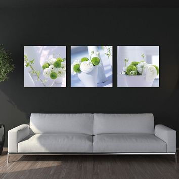 3 Pieces Set Elegant Flower Picture Canvas Printing Vertical Painting Mural Art for Living Room Hotel Wall Decoration