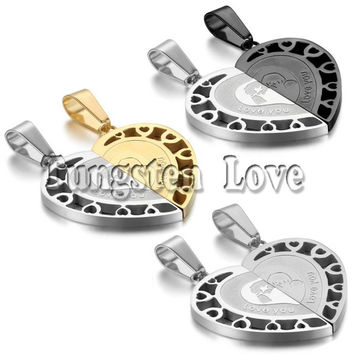 2pcs/pair Fashion Couple Stainless Steel LOVE YOU Matching Heart Pendant Lover Necklaces for Valentine Gift 3 colors selectable