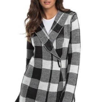 Black and White Checkered Hooded Sweater with Pin
