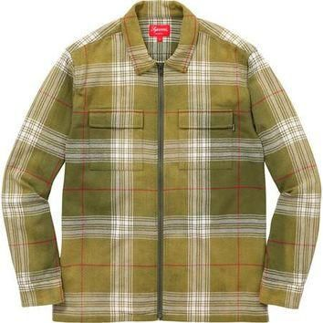 Supreme Faded Plaid Flannel Zip Up - Green