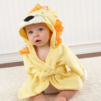 Baby Aspen Big Top Bath Time Lion Hooded Spa Robe 0-9 months