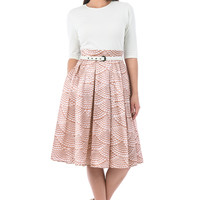 Pearl print mixed media belted dress