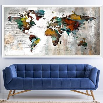 World Map Wall Art, World Map Print, Large World Map Art, World Map, World Map Push Pin, Push Pin Map Art Poster Print, Travel Map Art - L163