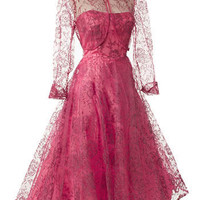 1950s Strapless Fuschia Pink Flocked Tulle Tea Length Dress