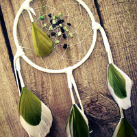 Dream Catcher Green and White with Grass Turquoise and Onyx