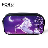 FORUDESIGNS 3D Unicorn Print Pencil Case for Children Storage Bag Travel Women Makeup Cosmetic Bags Girls School Office Supplies