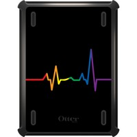 DistinctInk™ OtterBox Defender Series Case for Apple iPad - Rainbow Pulse Heart Beat