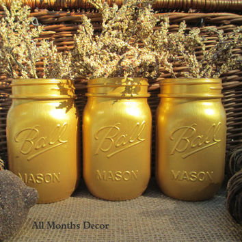 Set of 3 Gold Painted Mason Jars, Pint, Vase, Three Holiday Home Christas Wedding Bridal, Rustic Shabby Chic, Winter Gifts Girls Dorm