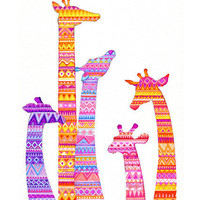 Giraffe Silhouettes in Bright Happy Colors - NEW Painting by Annya Kai - Nature Jungle Theme Modern Nursery Decor