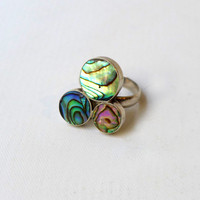 Vintage adjustable Sterling silver paua shell ring