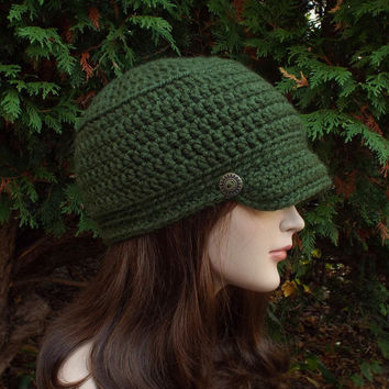Forest Green Cadet Hat - Womens Crochet Military Cap with Metal Buttons
