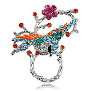 TUSHUO Vivid Birds Inlaid with Colorful Rhinestone Perched On The Branches Magnetic Eyeglass Holder