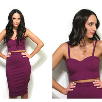 Two piece sweetheart crop top and midi skirt set, two piece set, crop top and skirt, bodycon dress.