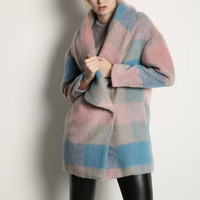 Pink Blue Plaid Lapel Coat