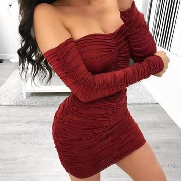 Red Drawstring Cascading Ruffle Boat Neck Long Sleeve Mini Dress