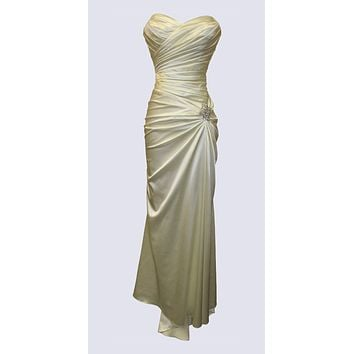 Ivory Satin Prom Dress Pleated Bodice Strapless Sweetheart Neck