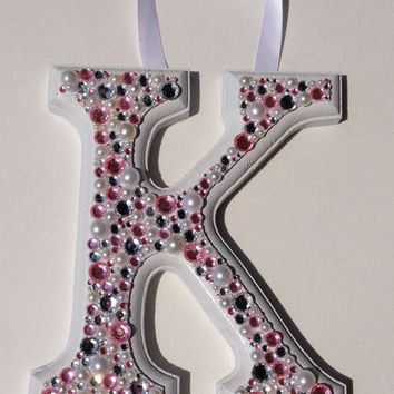 decorative letter, bejeweled letter, gemstone letter, wedding topper, princess letter, princess decoration, pink letter, jeweled letters