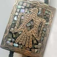 Bolo Tie Native American Thunderbird Motif Abalone 925 Mexican Sterling Gift for Him