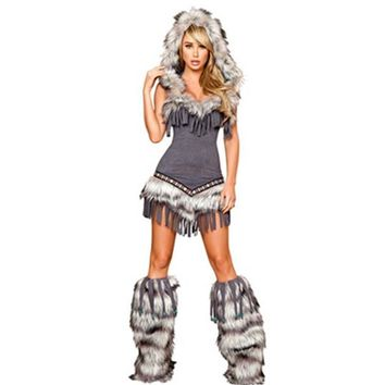 Festive Indian Fringe Faux Suede Faux Fur Trim Hood Native American Costume Cosplay Temptress Costume With Legwarmers L1443