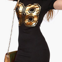 Gold 88 Graphic Print Mesh Hem Black Mini Dress